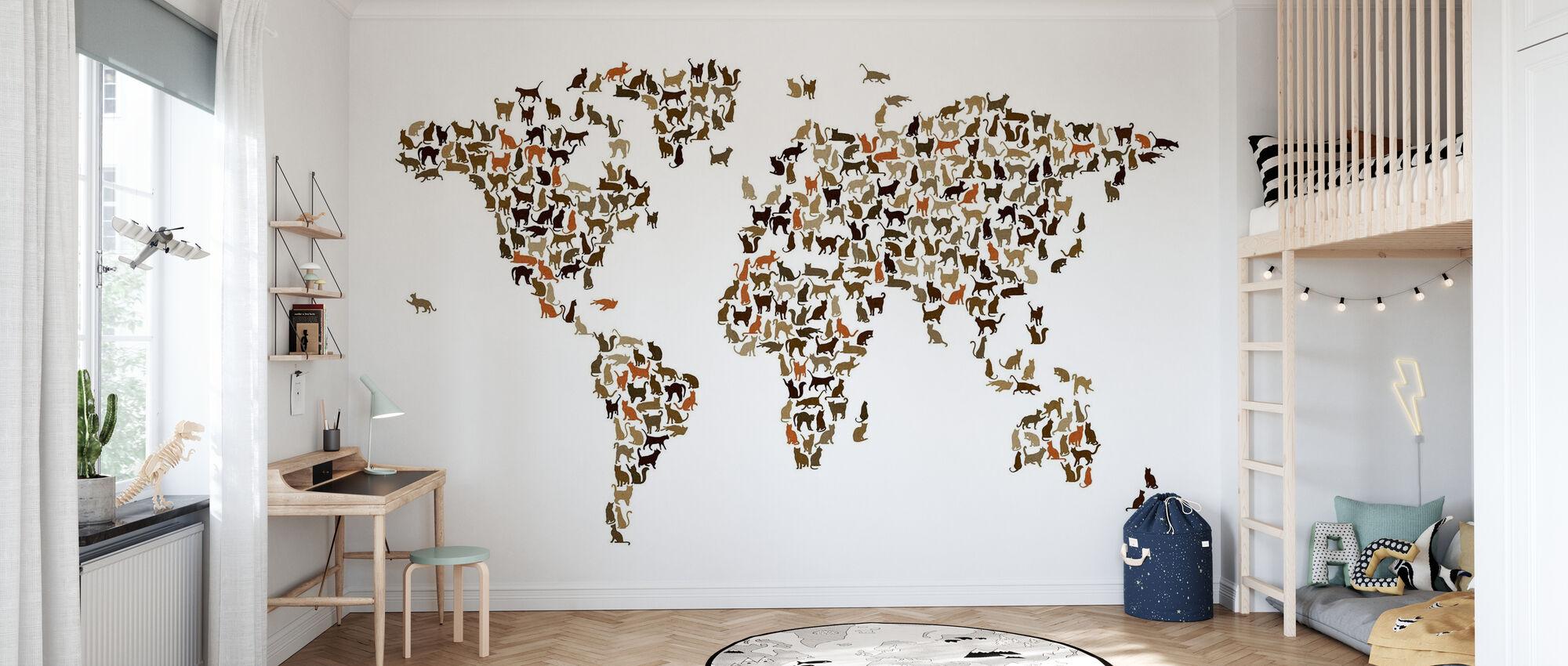 Cats Weltkarte - Tapete - Kinderzimmer