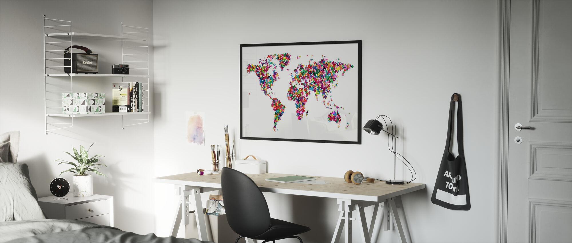 Vlinders Wereld Kaart Multicolor - Poster - Kinderkamer
