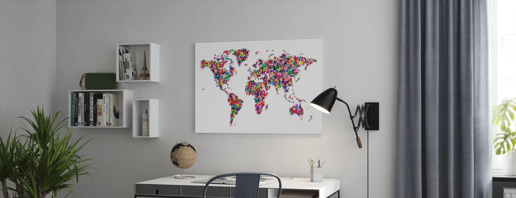 Butterflies World Map Multicolor - Canvas print - Office