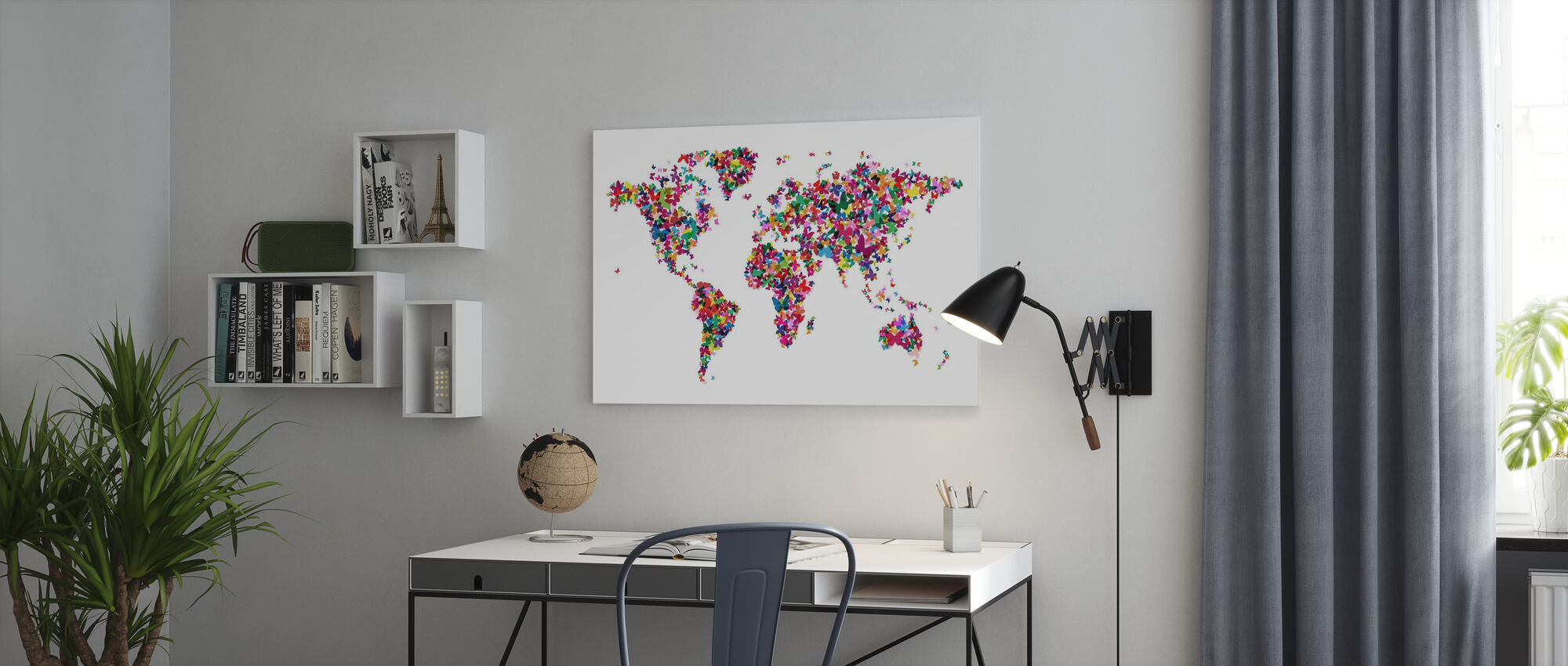 Butterflies World Map Multicolor - Lerretsbilde - Kontor