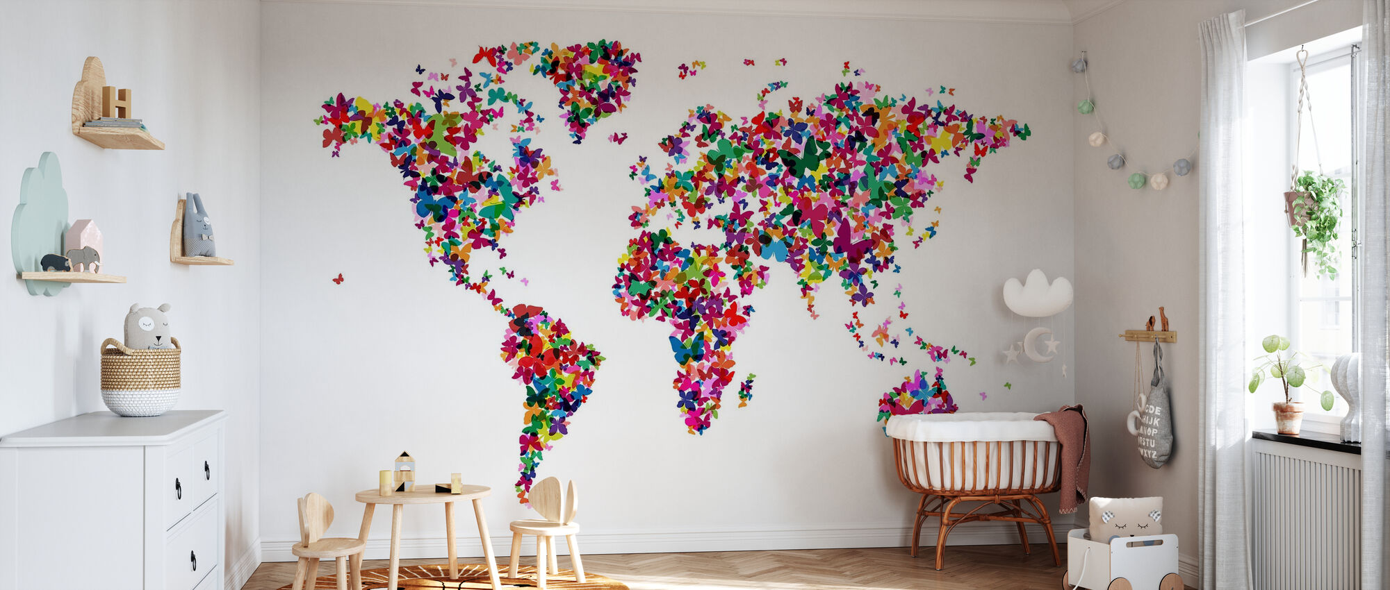 Butterflies World Map Multicolor - Wallpaper - Nursery