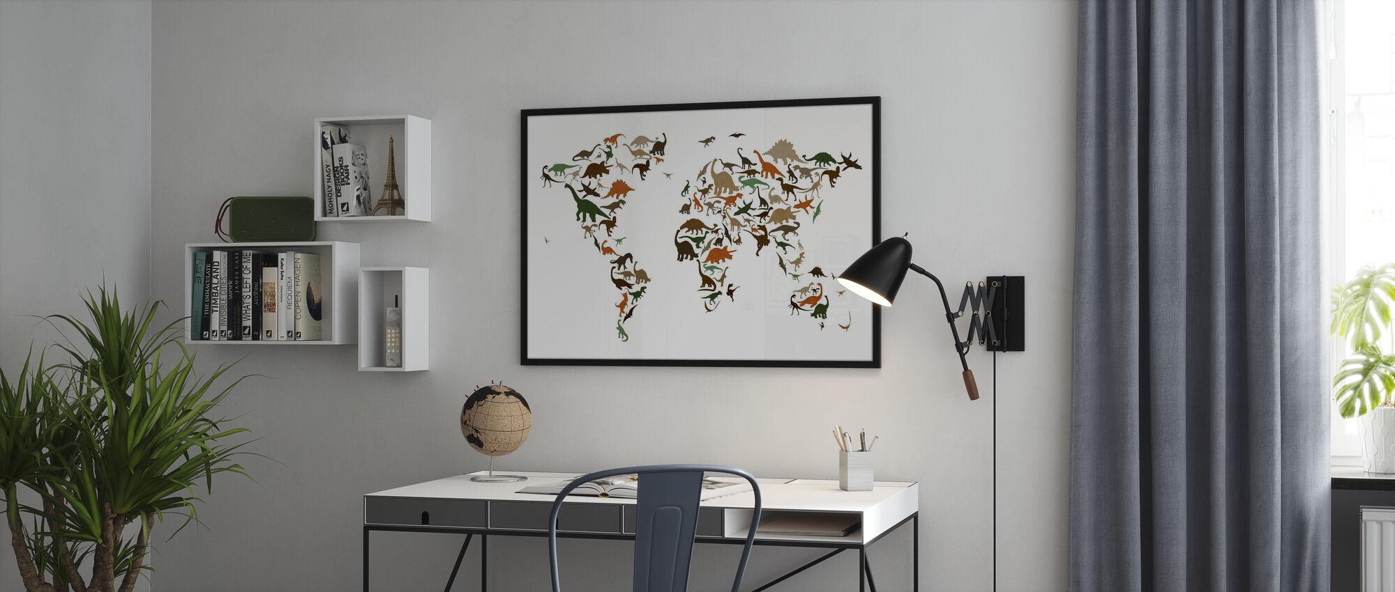 Dinosaurus Wereld Kaart Multicolor - Ingelijste print - Kantoor