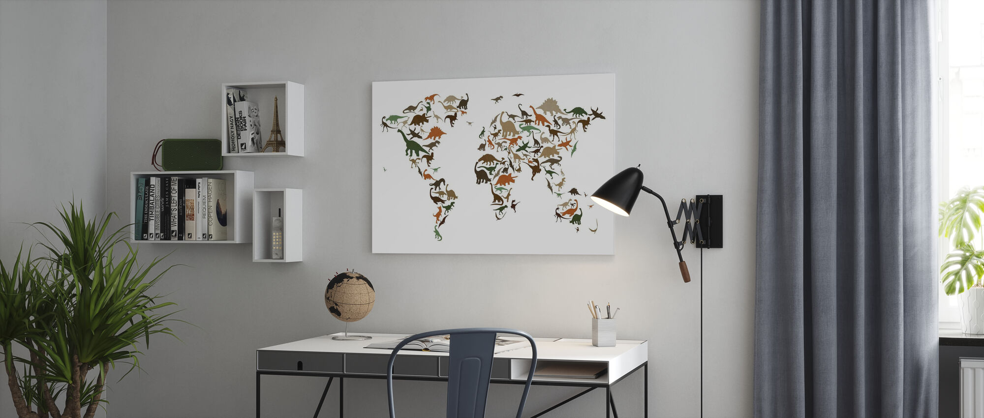 Dinosaur World Map Multicolor - Canvas print - Office