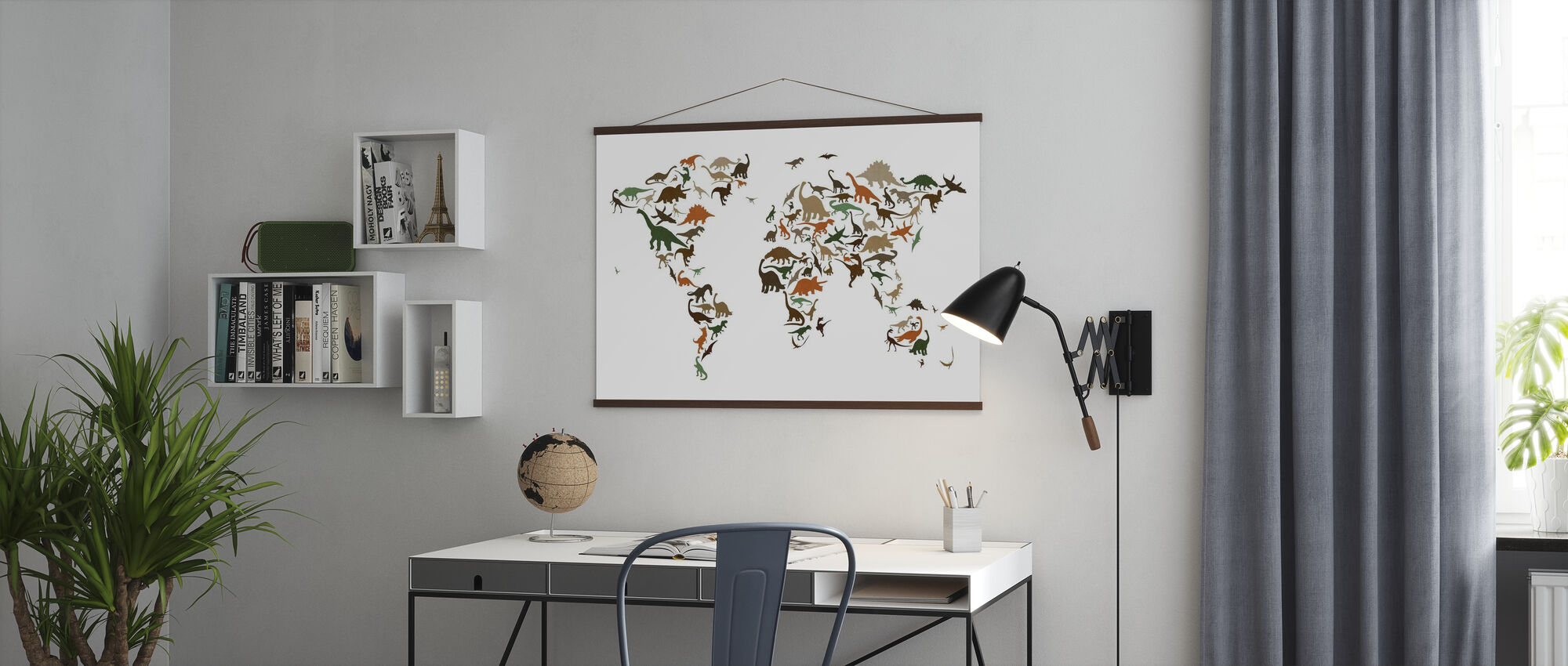 Dinosaur World Map Multicolor - Poster - Office