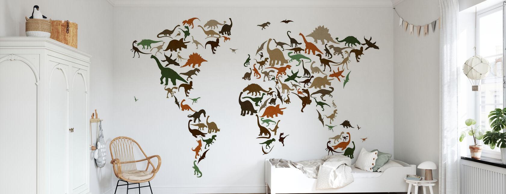 Dinosaur World Map Multicolor - Wallpaper - Kids Room