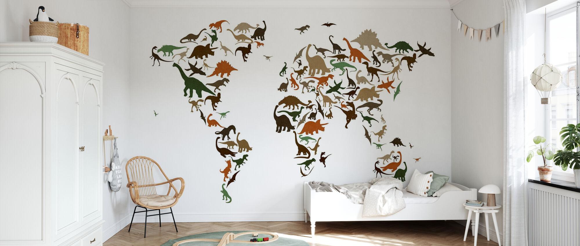 Dinosaurus Wereld Kaart Multicolor - Behang - Kinderkamer