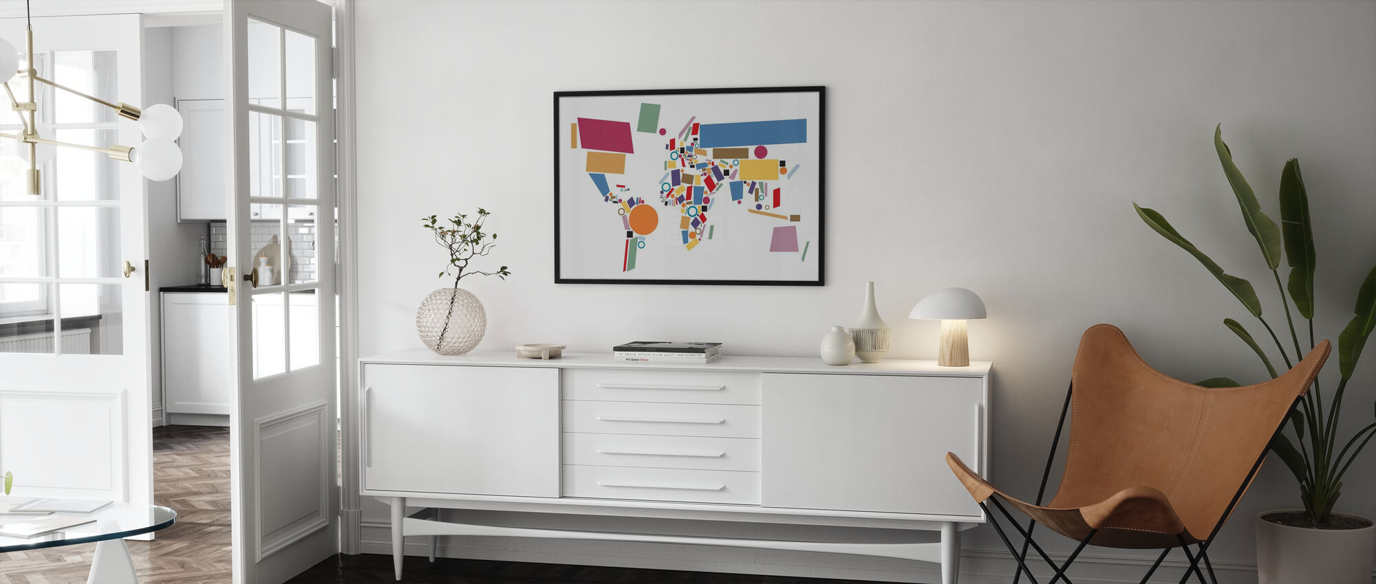 Abstract World Map Squares - Poster - Living Room
