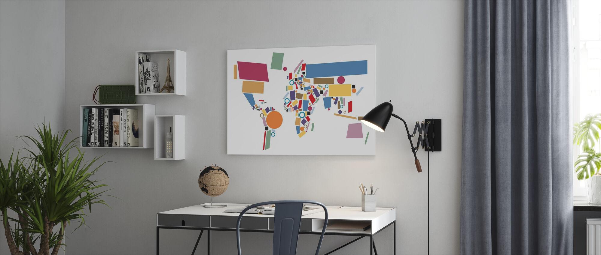 Abstracte Wereld Kaart Vierkanten - Canvas print - Kantoor