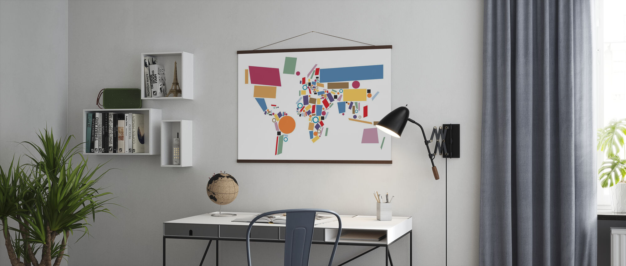 Abstract World Map Squares - Poster - Office