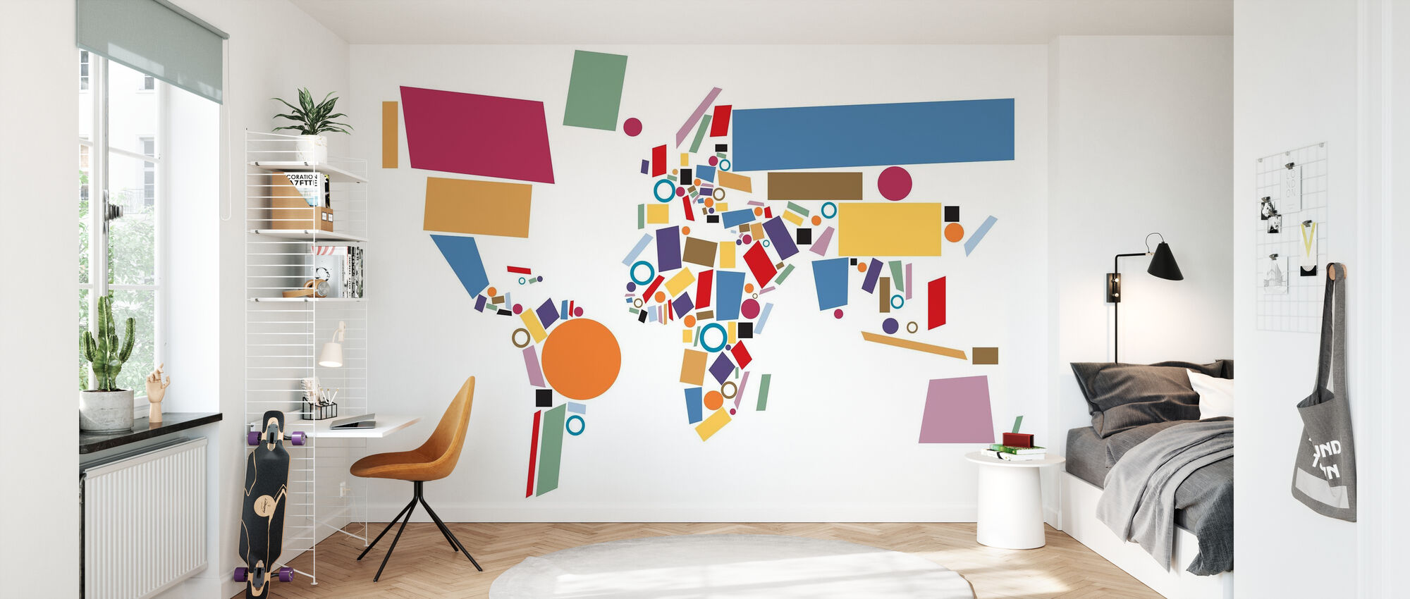 Abstract World Map Squares - Wallpaper - Kids Room