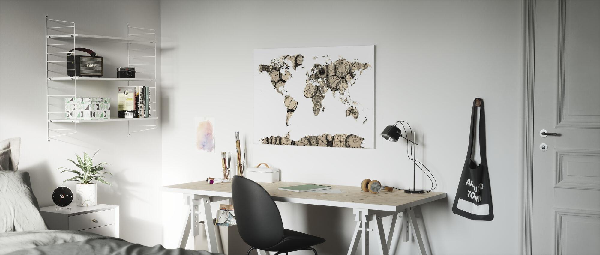 Old Clocks World Karta - Canvastavla - Barnrum