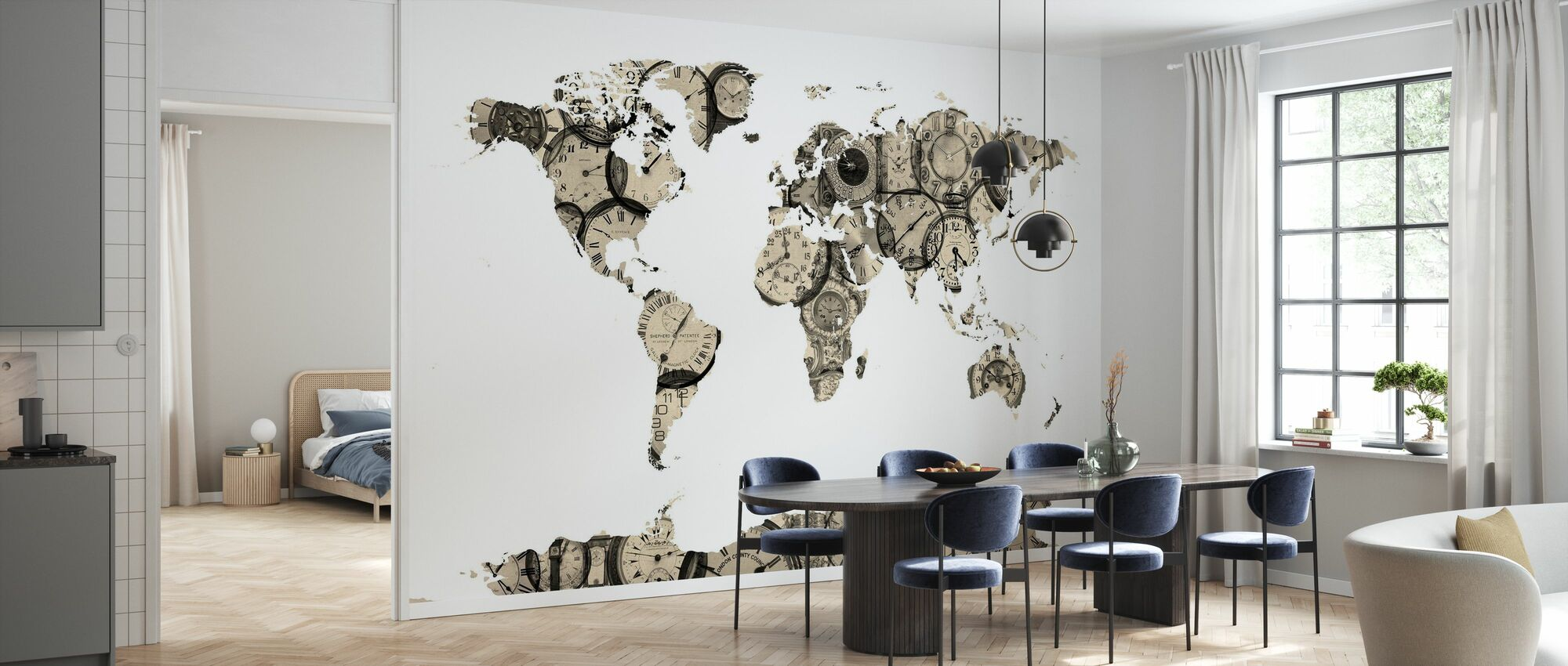 Old Clocks World Map - Papel pintado - Cocina