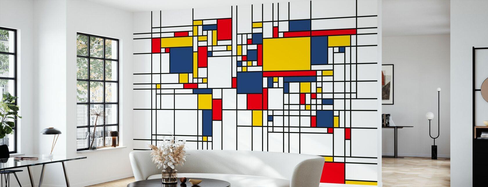 Piet Mondrian Style World Map - Wallpaper - Living Room