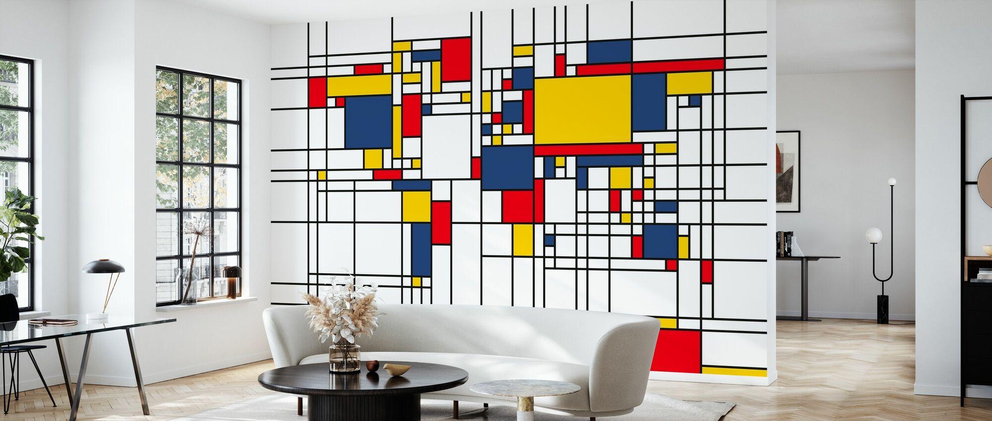 Piet Mondrian Style Weltkarte - Tapete - Wohnzimmer