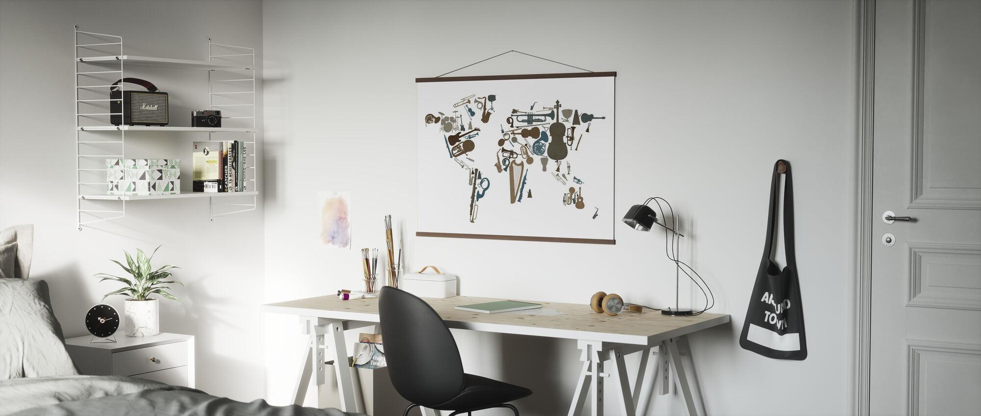 Muziek Instrumenten Wereld Kaart - Poster - Kantoor