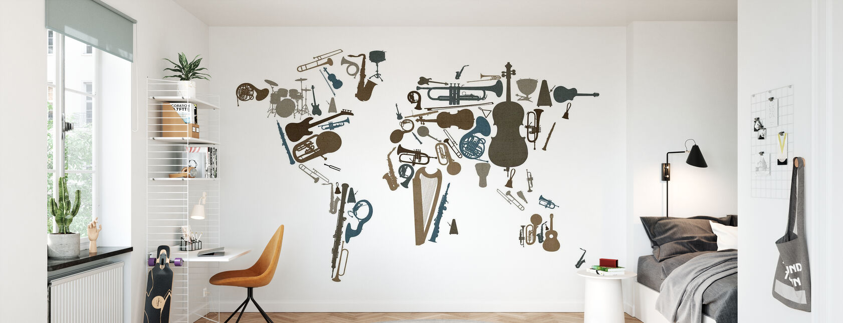 Music Instruments World Map - Wallpaper - Kids Room