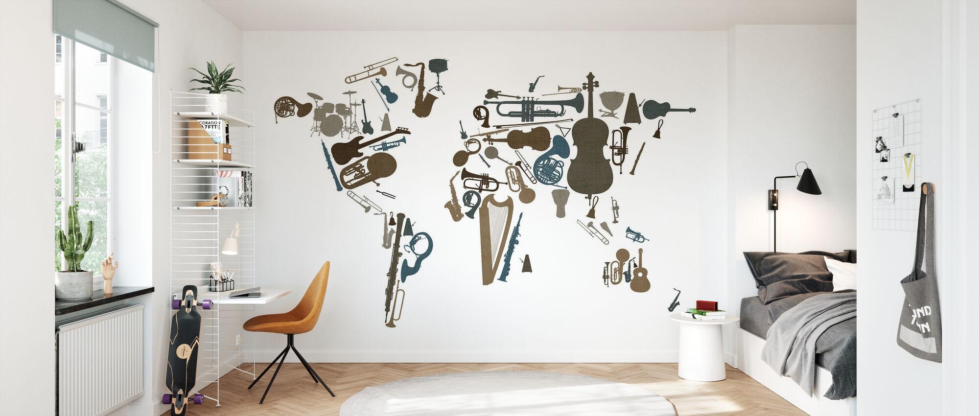 Instrumentos Musicales Mapa Mundial - Papel pintado - Cuarto de niños
