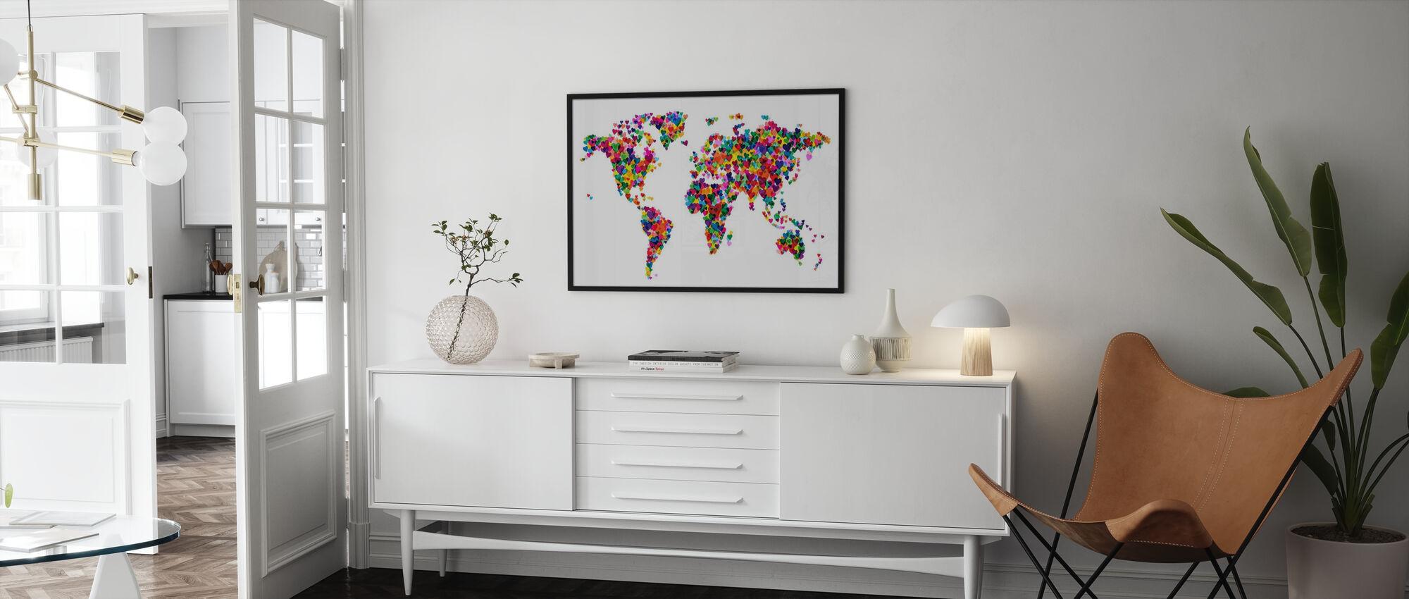 Mappa del mondo di cuori - Poster - Salotto