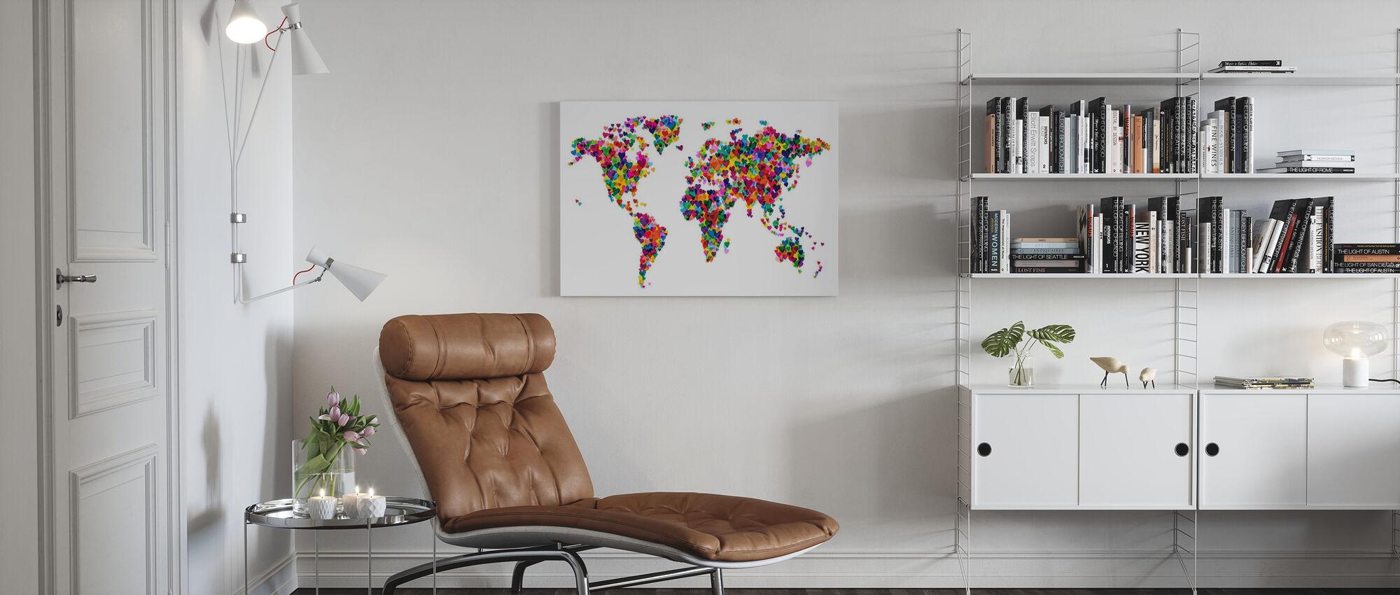 Hearts World Map - Canvas print - Living Room