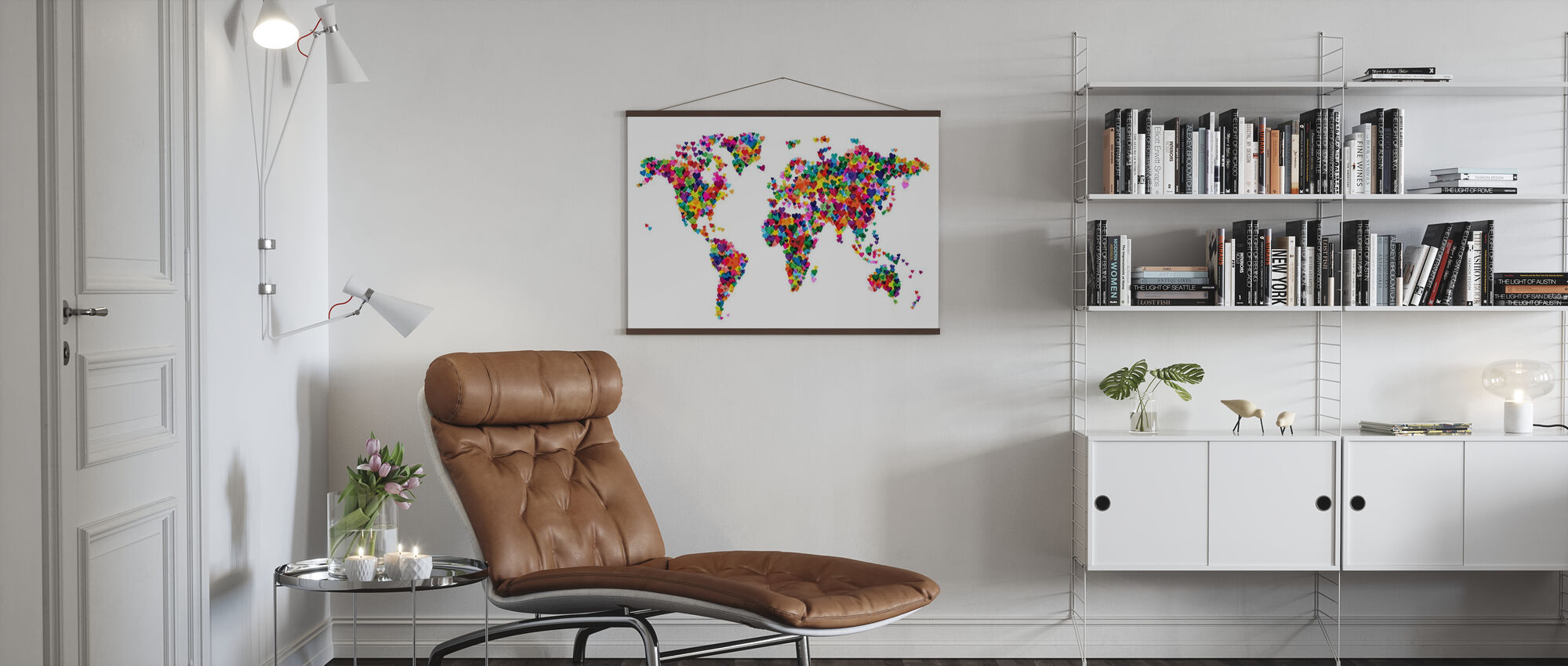 Hearts World Map - Poster - Living Room