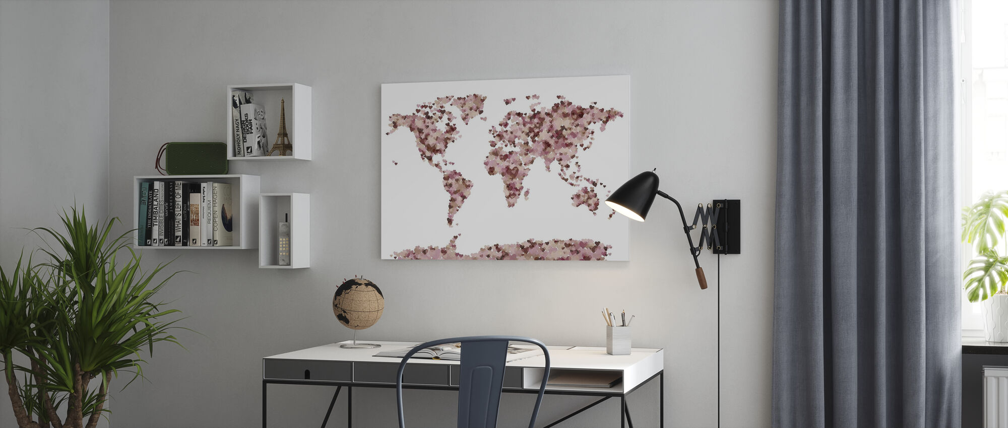 Hearts Wereld Kaart Roze - Canvas print - Kantoor