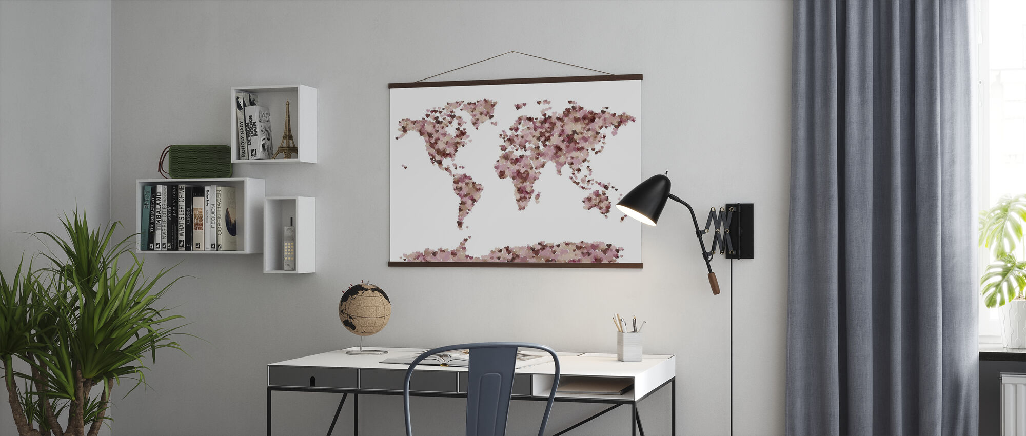 Hearts Wereld Kaart Roze - Poster - Kantoor