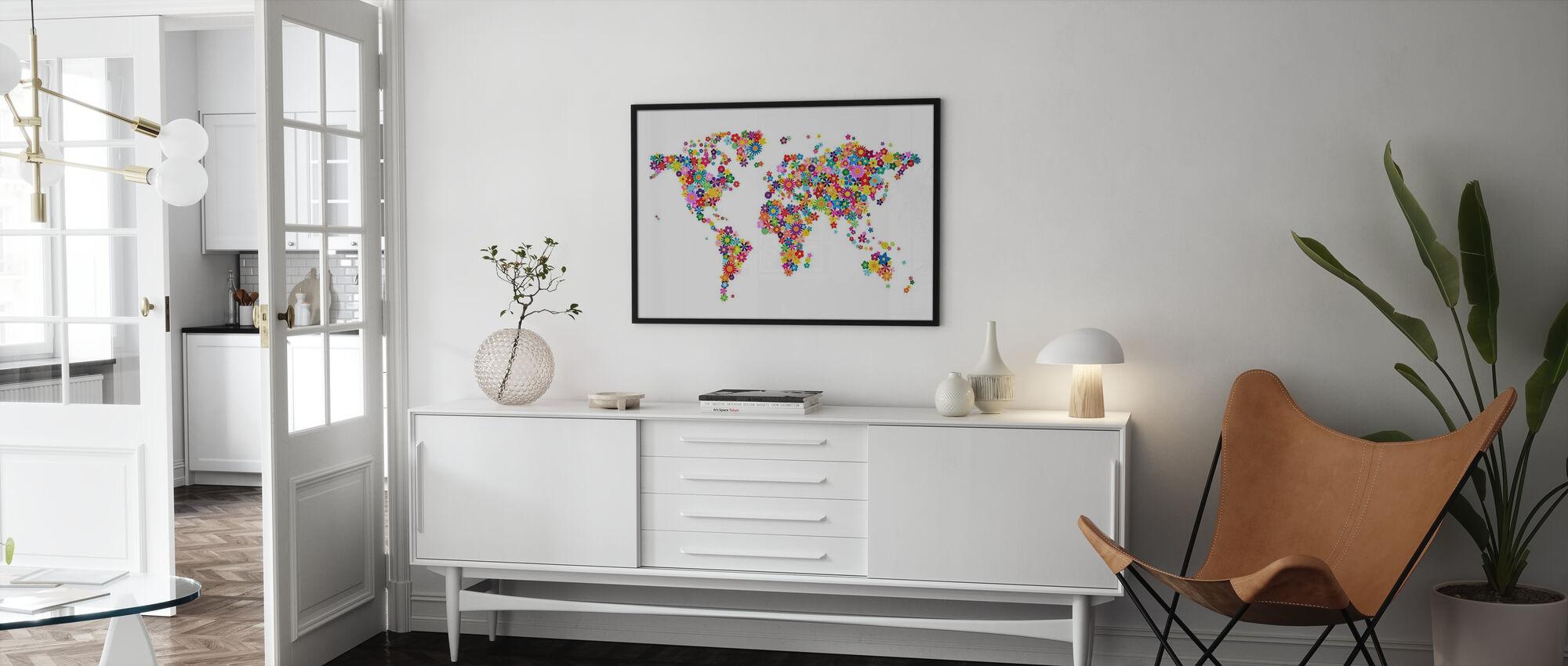 Flowers World Map - Framed print - Living Room