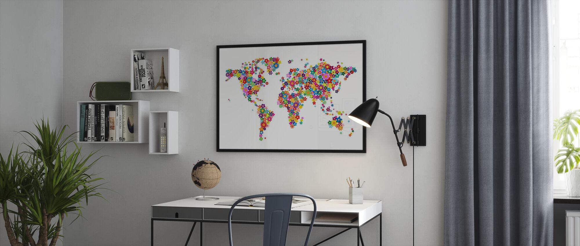 Bloemen Wereld Kaart - Ingelijste print - Kantoor