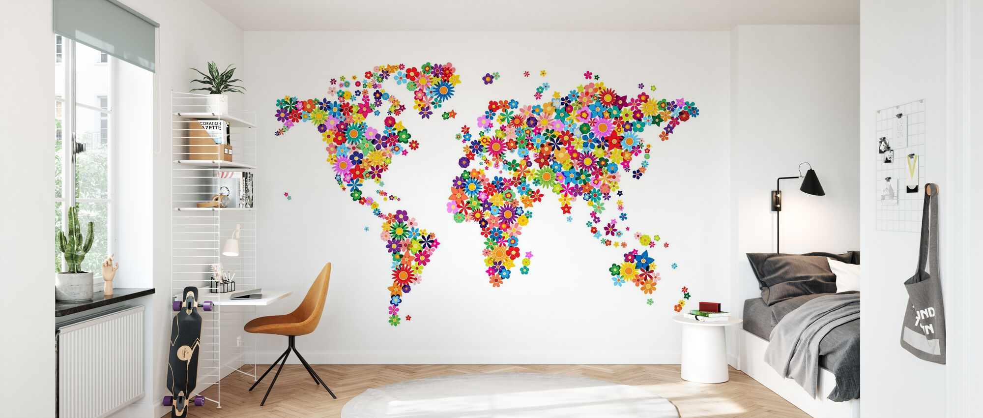 Bloemen Wereld Kaart - Behang - Kinderkamer