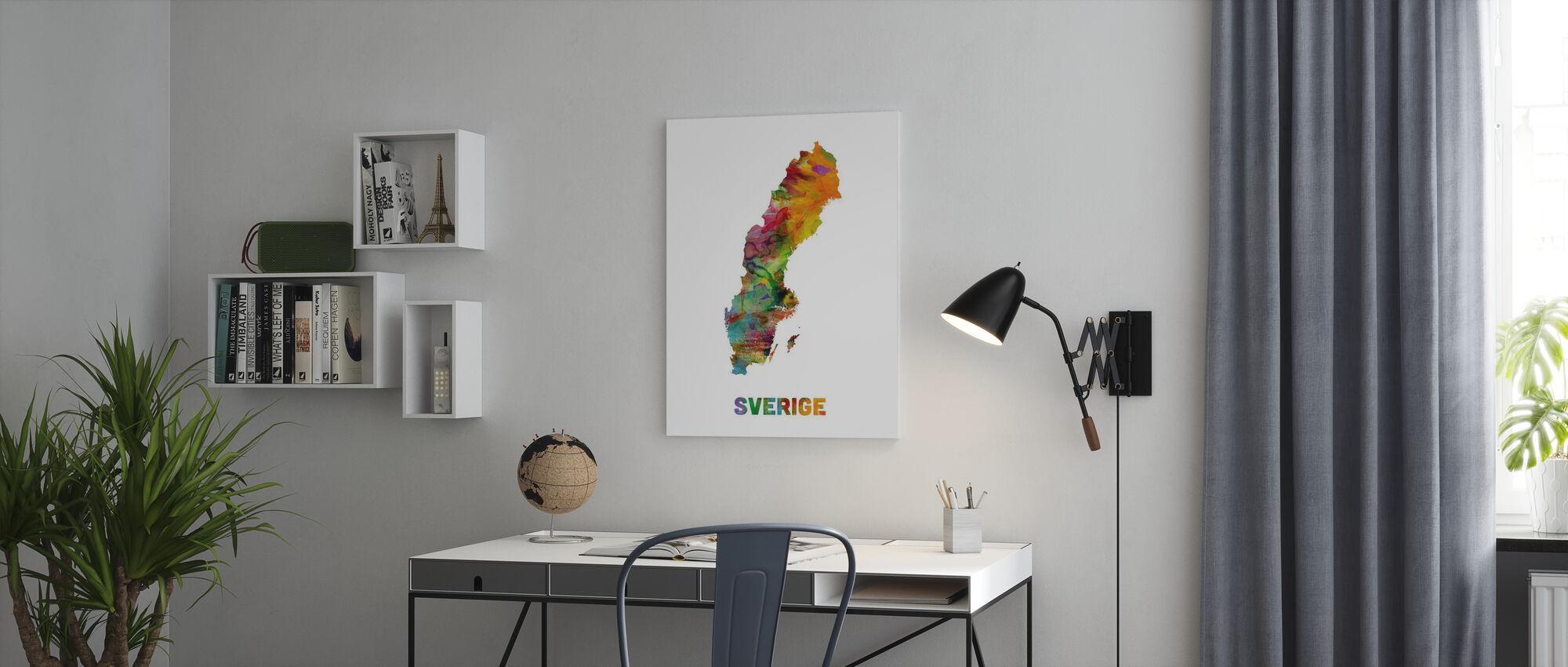 Sverige Akvarell Karta - Canvastavla - Kontor