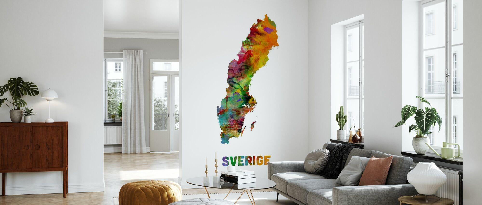 Suecia Mapa de acuarela - Papel pintado - Salón