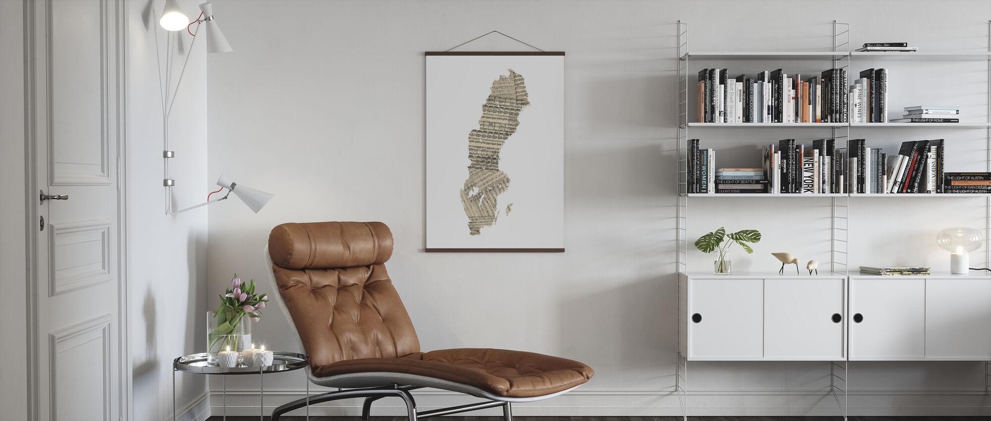 Sweden Old Music Sheet Map - Poster - Living Room
