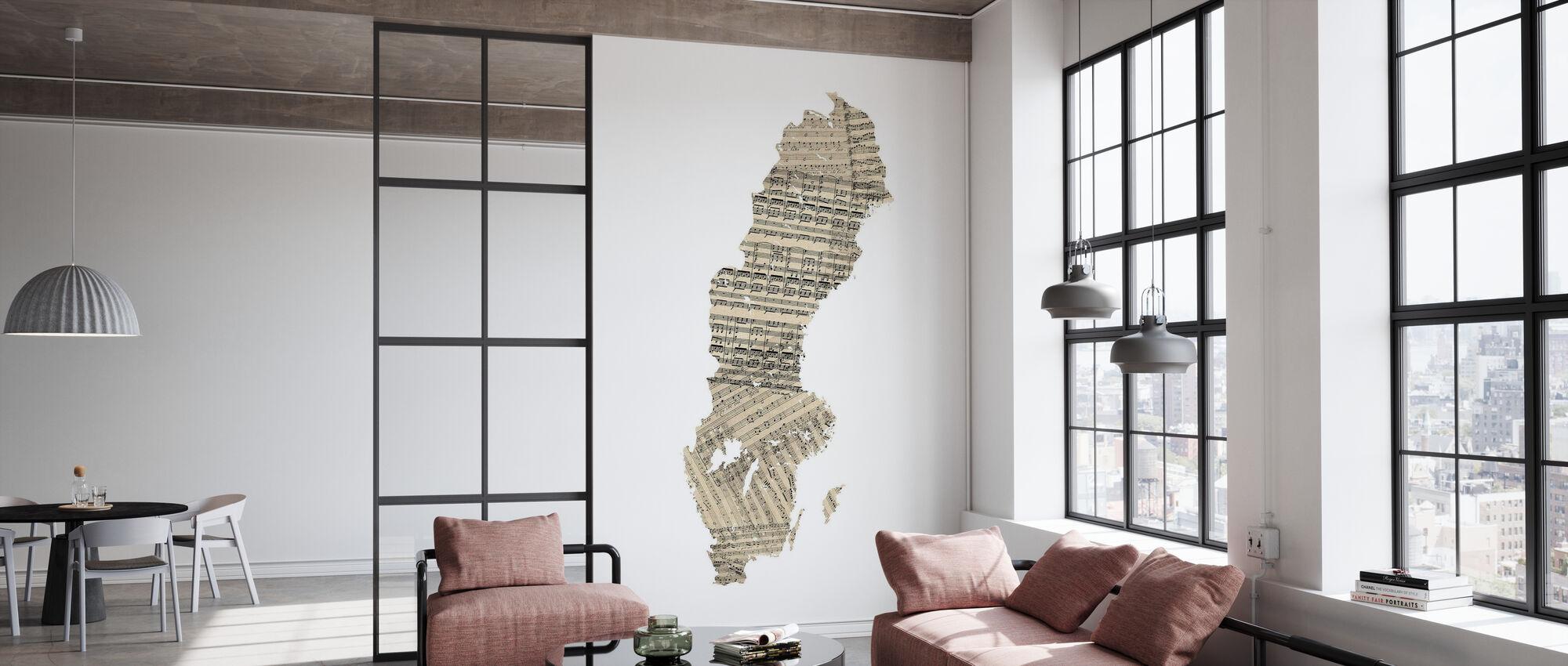 Suecia Old Music Sheet Map - Papel pintado - Oficina