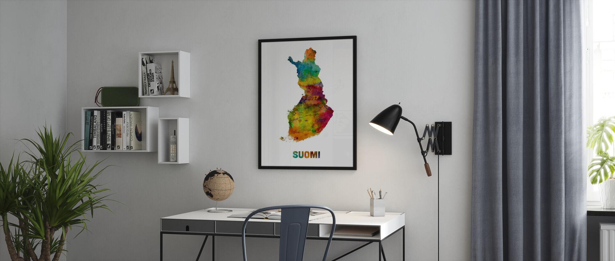 Suomi Vesiväri Kartta - Kehystetty kuva - Toimisto