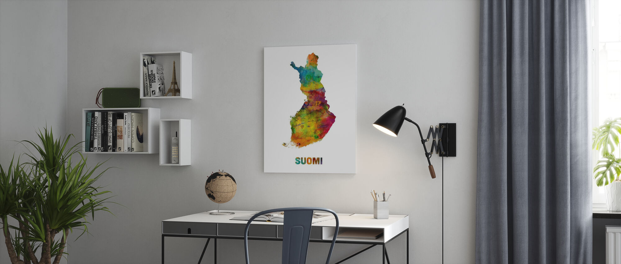 Finland Watercolor Map - Canvas print - Office