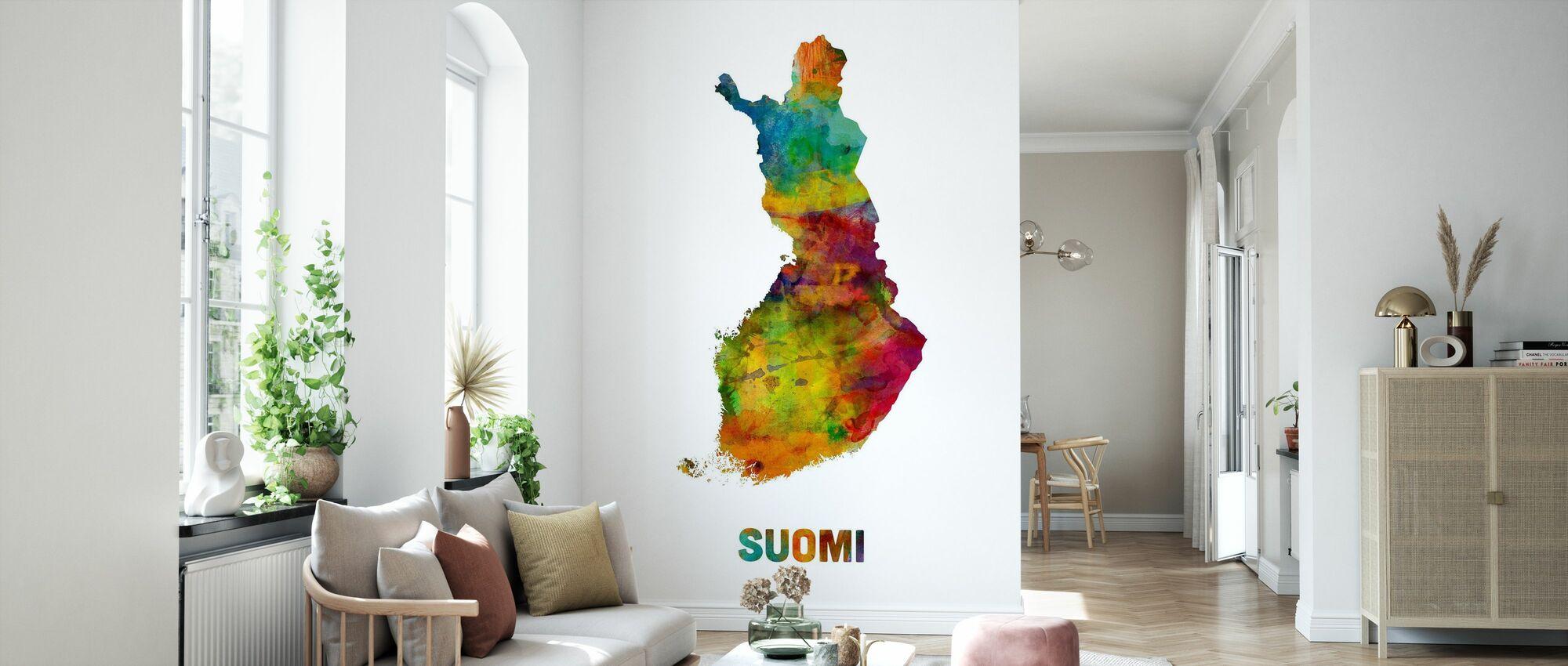 Finland Watercolor Map - Wallpaper - Living Room