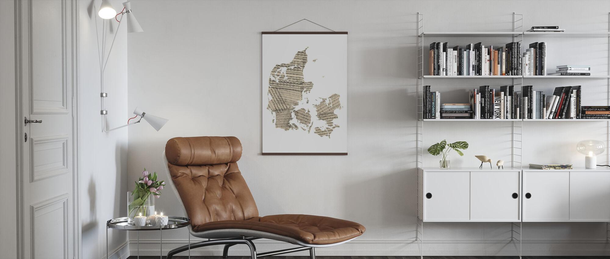 Denmark Old Music Sheet Map - Poster - Living Room