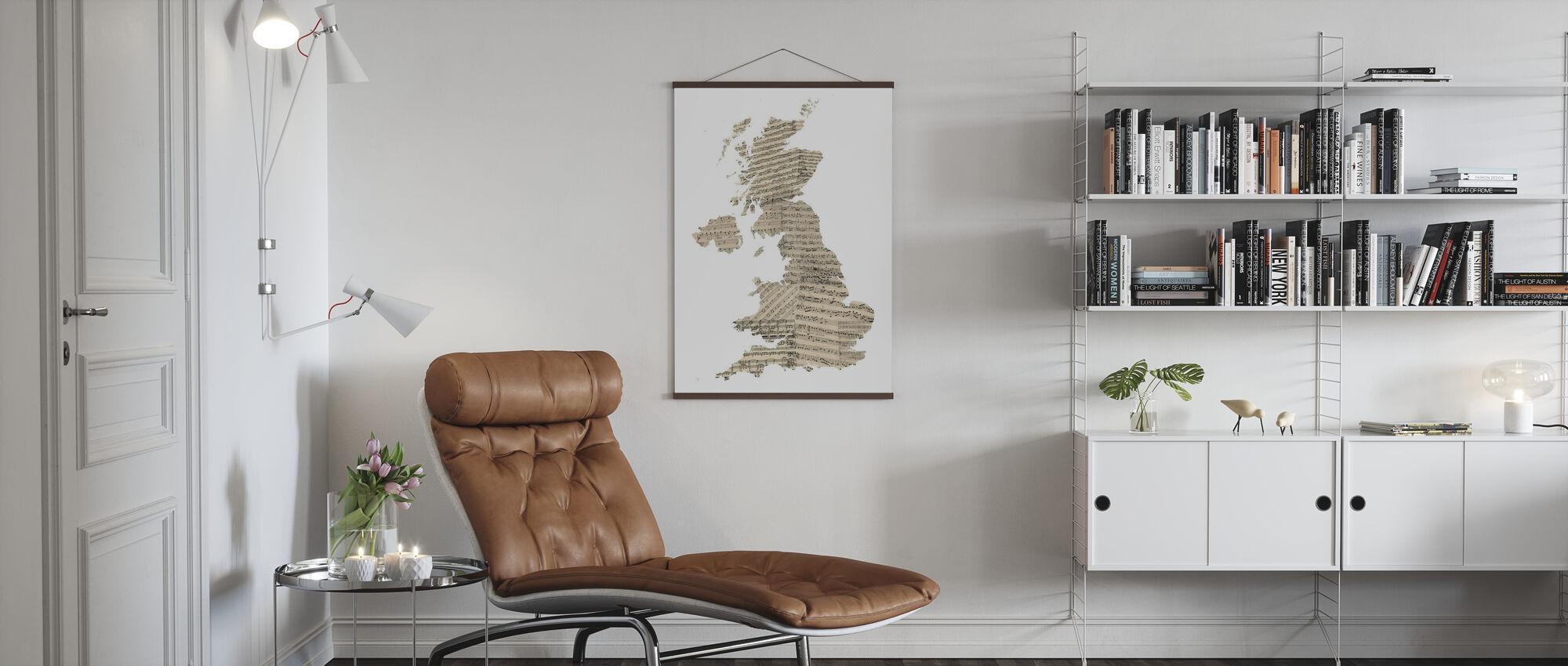 Grossbritannien Old Music Sheet Map - Poster - Wohnzimmer