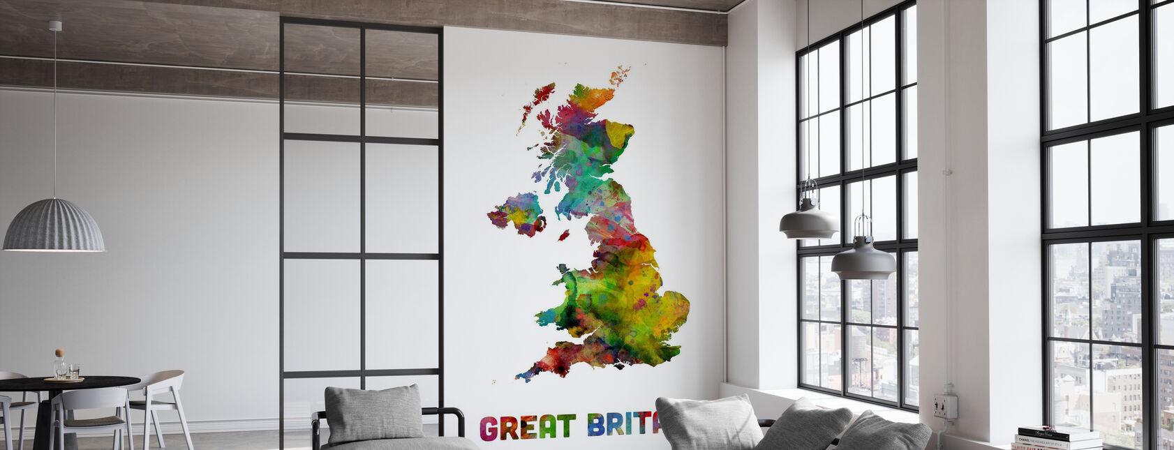 Great Britain Watercolor Map - Wallpaper - Office