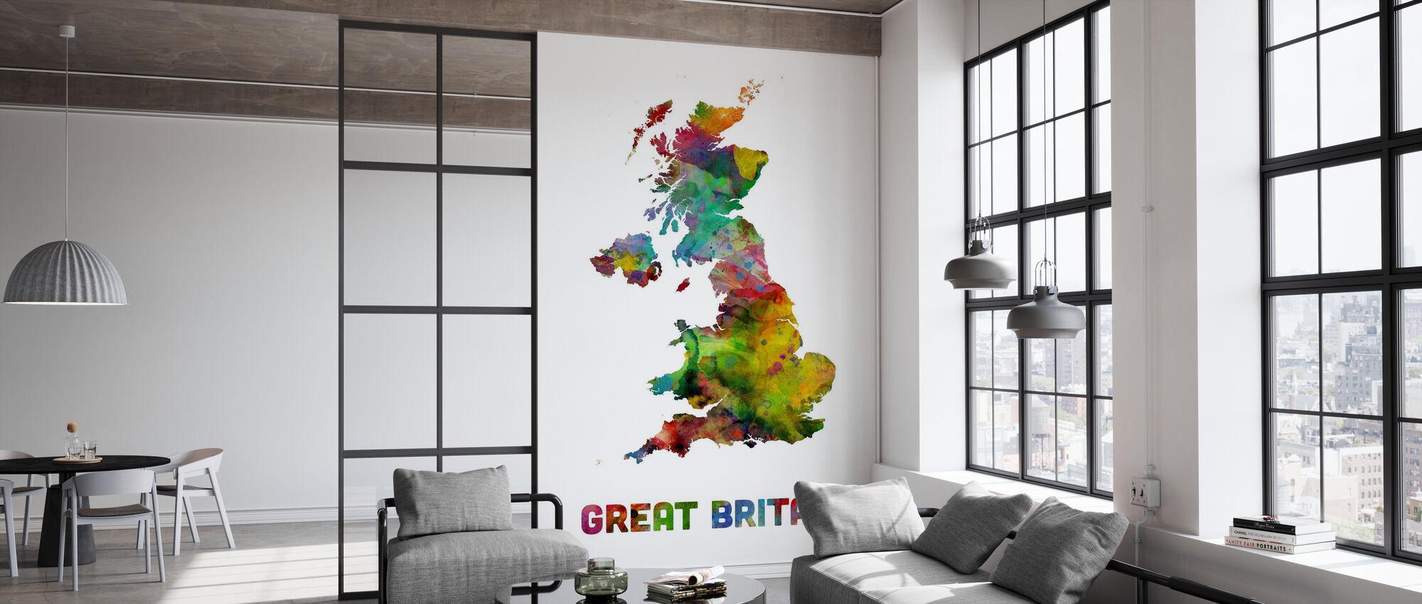 Great Britain Akvarell Kort - Tapet - Kontor