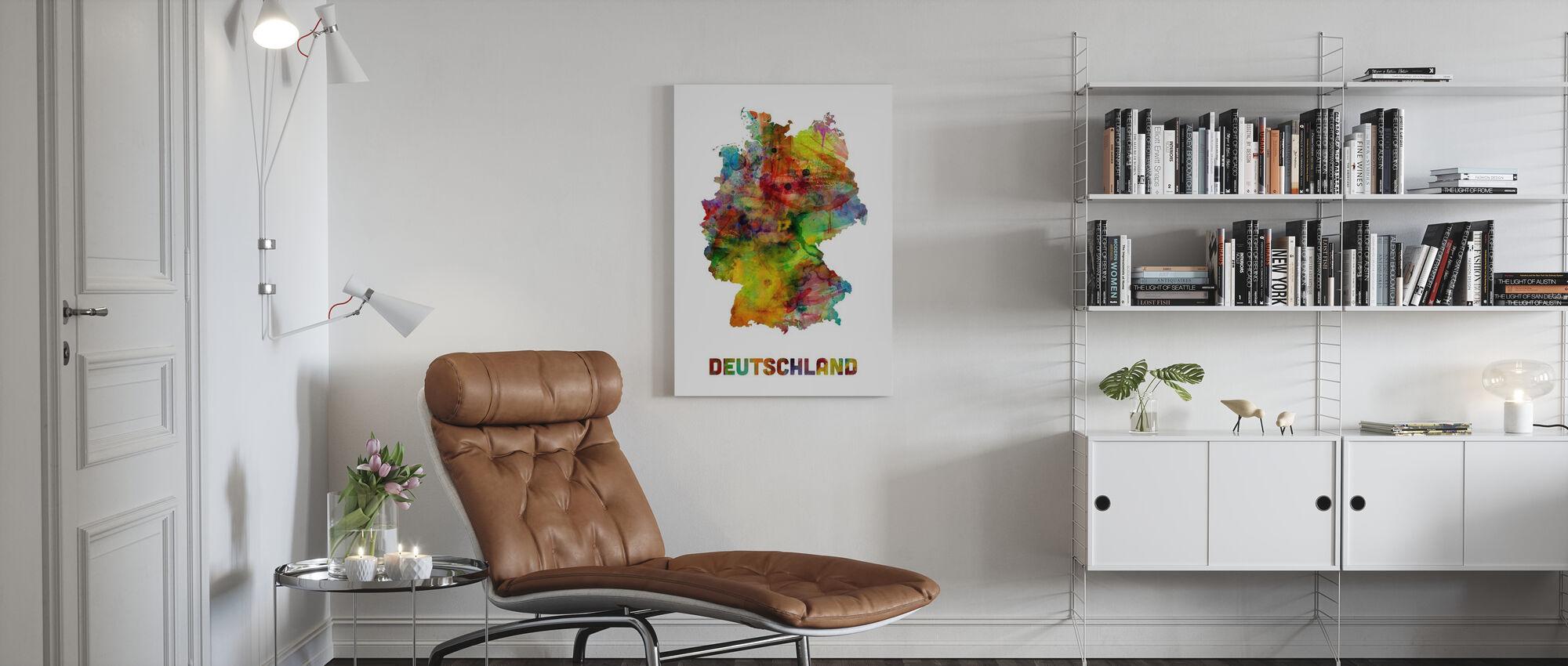 Tyskland Akvarell Karta - Canvastavla - Vardagsrum