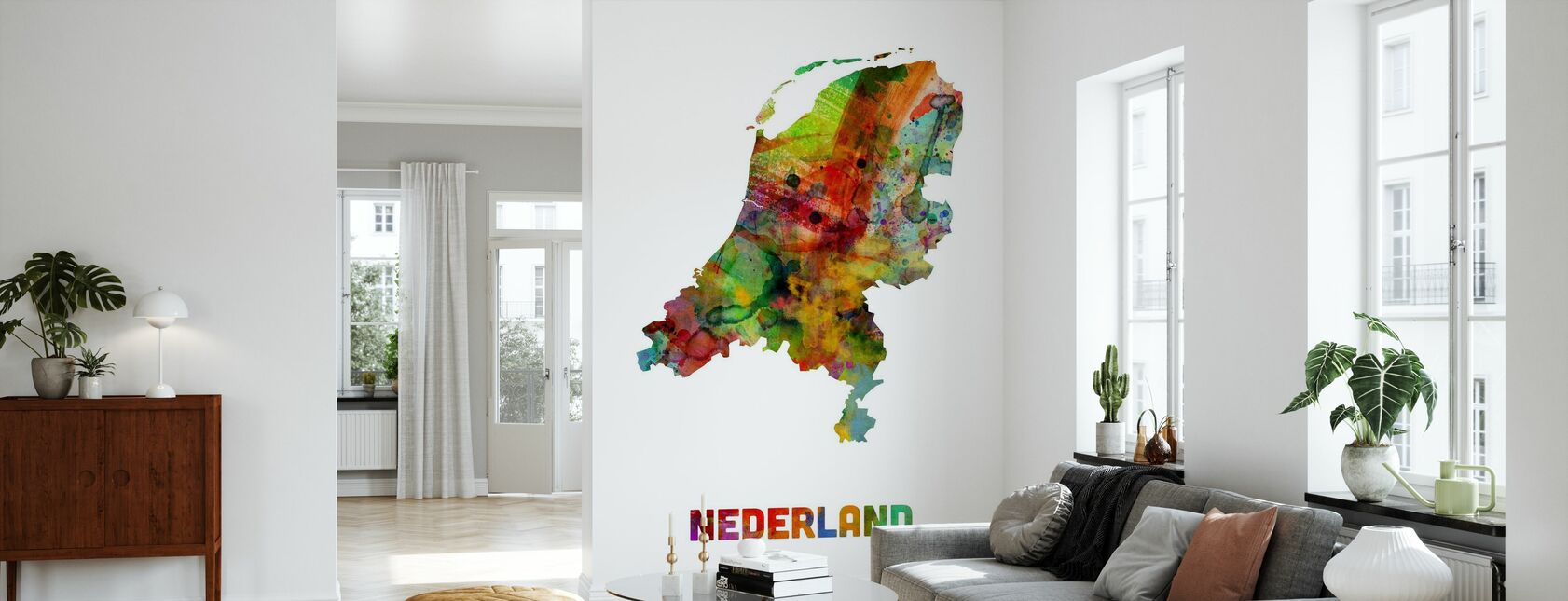 Netherlands Watercolor Map - Wallpaper - Living Room