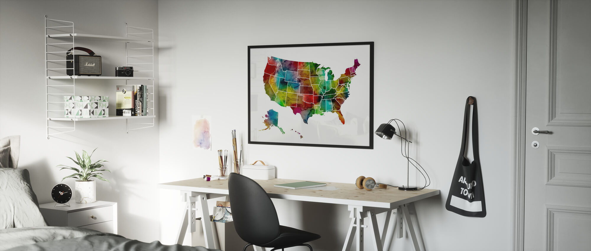 USA Watercolor Map - Poster - Kids Room