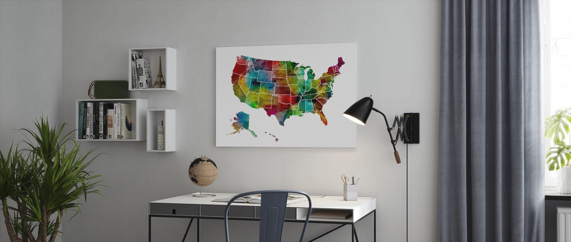 USA Akvarell Karta - Canvastavla - Kontor