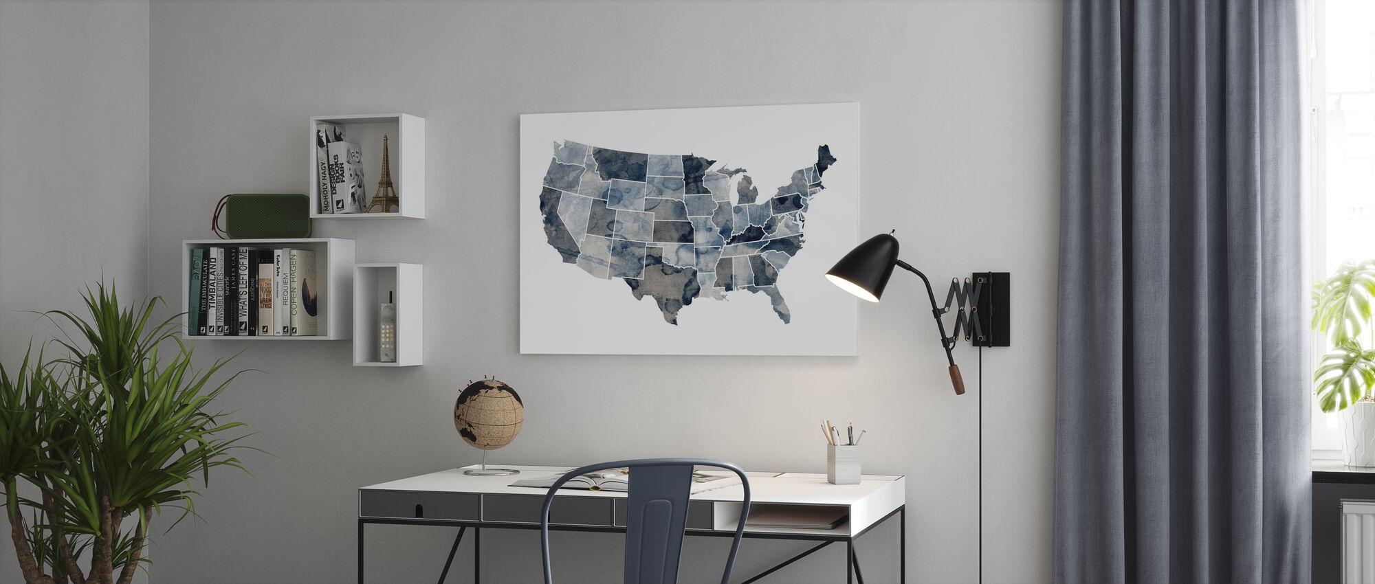 Carte Aquarelle USA Bleu - Impression sur toile - Bureau