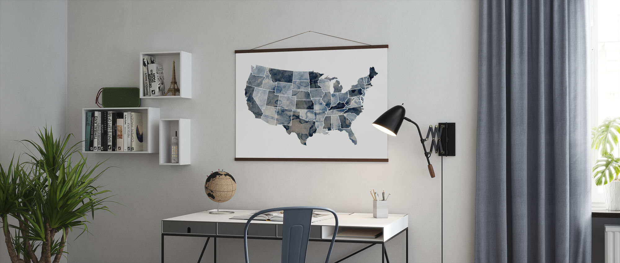 USA Watercolor Map Blue - Poster - Office