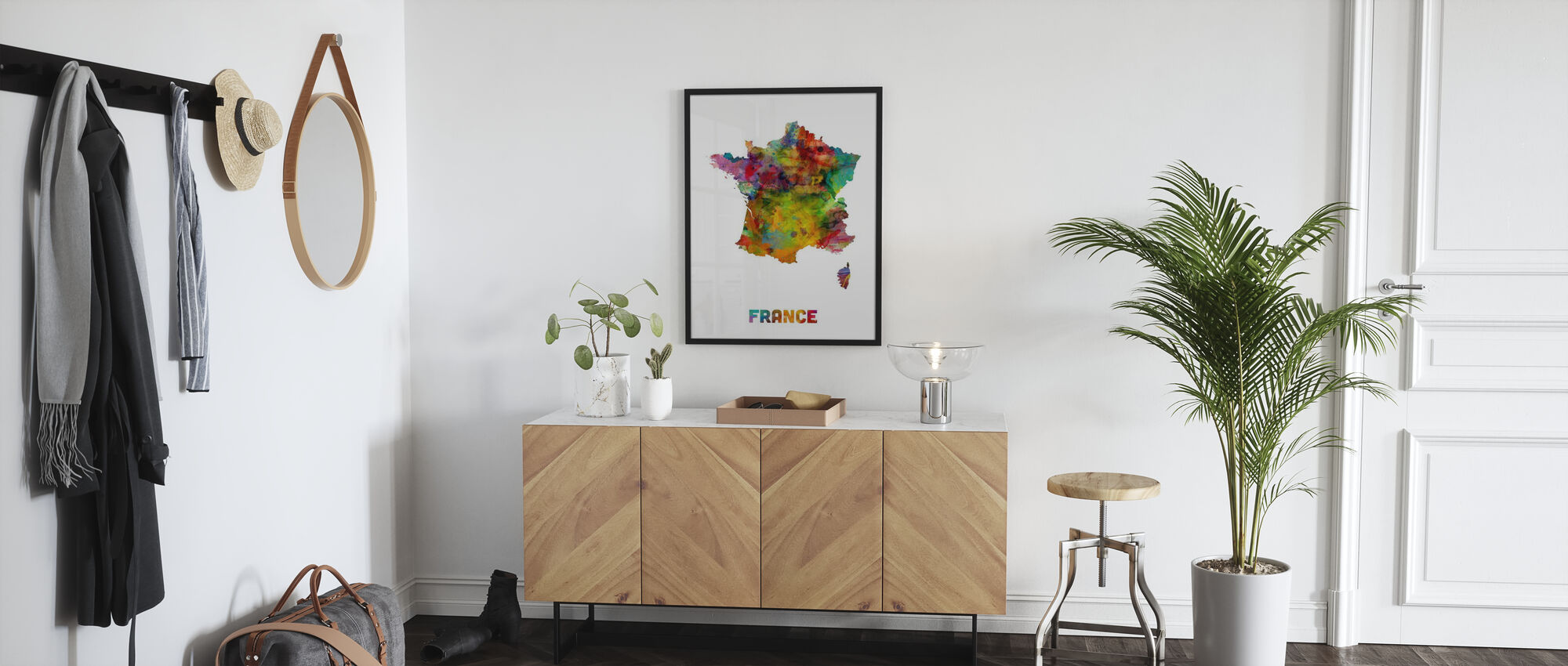 France Watercolor Map - Poster - Hallway