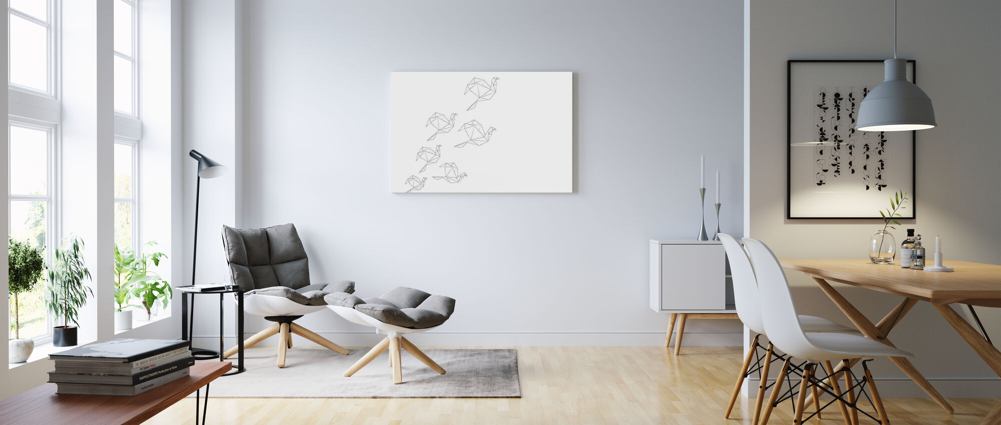 Origami Lineart - Canvas print - Living Room