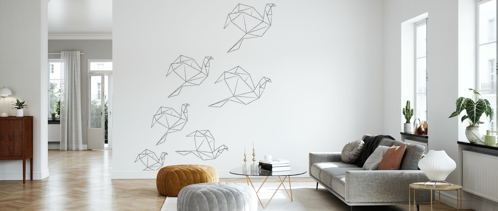 Origami-lineart - Behang - Woonkamer