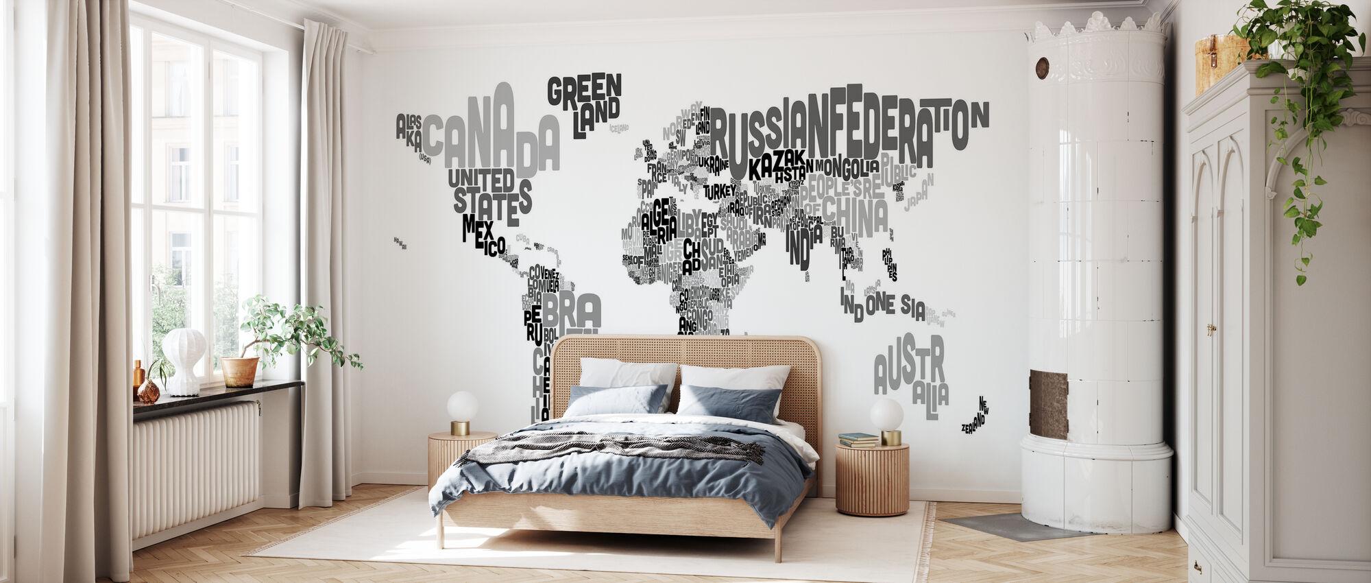 Typografisk Text Världskarta Svart & Grå - Tapet - Sovrum